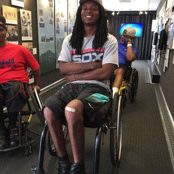 young man in wheelchair at the Disability Museum on Wheels exhibit
